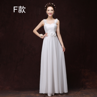 Korean style champagne color bridesmaid sisters dress bridesmaid dress (1918 long white F)