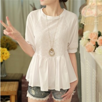 Korean-style chiffon female pullover Top short sleeved shirt