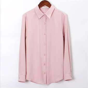 Korean-style chiffon solid color slimming Top long-sleeved shirt (Pink)