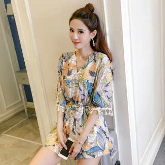 Korean-style chiffon summer female romper divided skirt (Yellow)