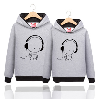 Korean-style class uniform hooded student couple's hoodie autumn coat (Pure gray)