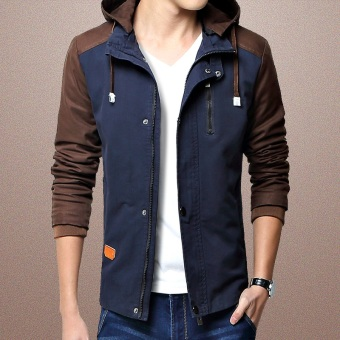 Korean-style cotton autumn Slim fit wash jacket (Dark blue color)