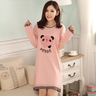 Korean-style cotton female long-sleeved pajamas dress lingerie (Long-sleeved cotton [PANDA head] lingerie)