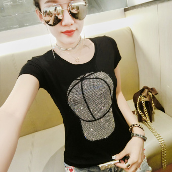 Korean-style cotton female New style Top T-shirt (Black hat) (Black hat)