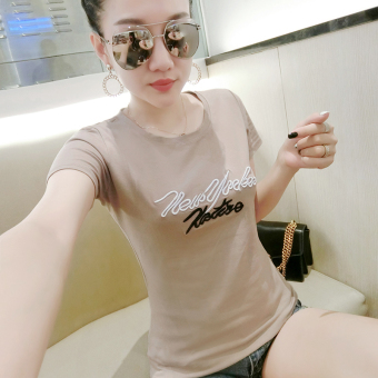Korean-style cotton female New style Top T-shirt (Casual color embroidery English) (Casual color embroidery English)