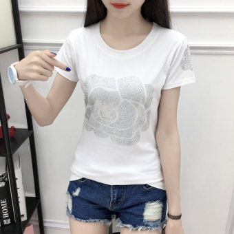Korean-style cotton female Slim fit bottoming shirt T-shirt (White)