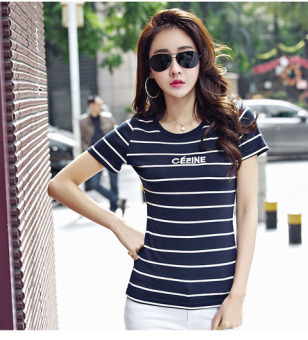 Korean-style cotton letter Striped short-sleeved t-shirt Female Summer (Dark blue color)