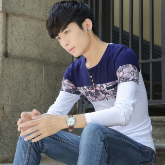 Korean-style cotton New style men's T-shirt (T291 white)