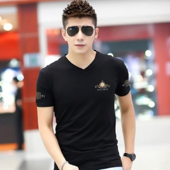Korean-style cotton New style Slim fit T-shirt (Black) (Black)