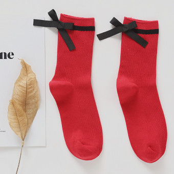 Korean-style cotton Spring and Autumn Four Seasons high-grade women's socks tube socks (Red)