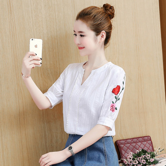 Korean-style cotton white New style bottoming shirt T-shirt