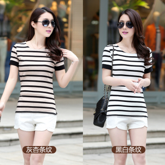 Korean-style cotton women striped bottoming shirt T-shirt shirt (Black and white striped)