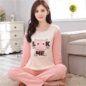Korean-style cotton women's cotton long-sleeved tracksuit pajamas (Pink) (Pink)