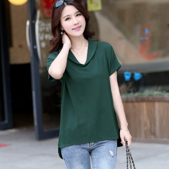 Korean-style cotton women's mid-length LOOESN Top T-shirt shirt (Dark green color)