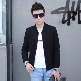 Korean-style cotton young Slim fit men's casual jacket thin section jacket (Black)