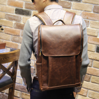 Korean-style Crazy Horse leather large capacity travel bag casual shoulder bag (PARK'S color)