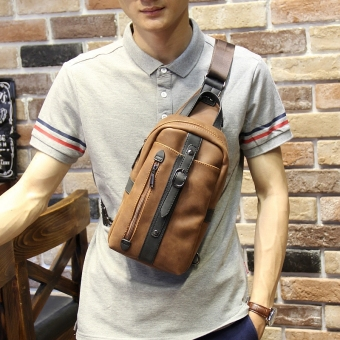 Korean-style Crazy Horse leather New style chest pack men's bag