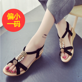 Korean-style crystal Female Summer women's shoes sandals (Women's + Black (Partial small a code))
