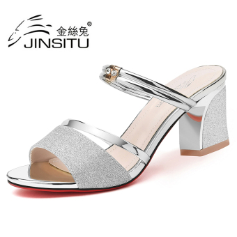 Korean-style crystal high-heeled semi-high heeled sandals Shishang women's shoes (2090 silver (semi-high heeled))