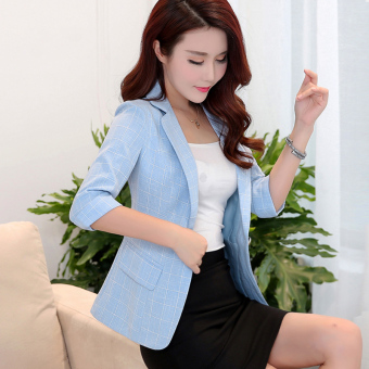 Korean-style elegant three-quarter-length sleeve Slim fit casual suit short jacket (Water blue)
