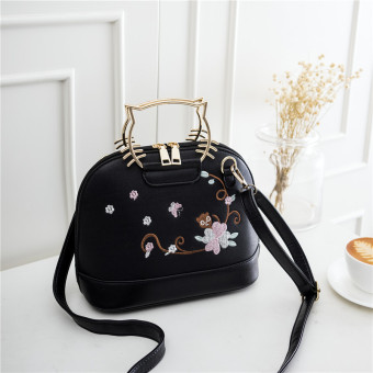 Korean-style embroidered flowers cat handbag women's bag (Black)
