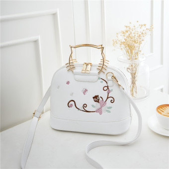 Korean-style embroidered flowers cat handbag women's bag (White)