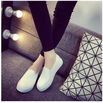 Korean Style Fashion Women Slip On Loafers - White - 2