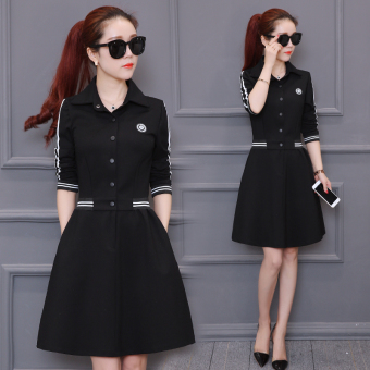 Korean-style female autumn and dress New style Slim fit base skirt long-sleeved dress (Black)