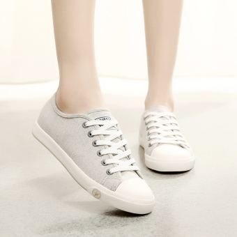 Korean-style female flat heel breathable shoes Huanqiu (Gray)