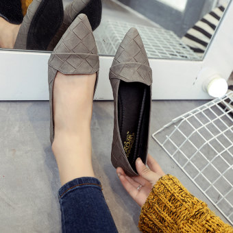 Korean-style female Flat pointed flat heels shallow mouth shoes (Gray)