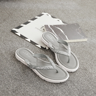 Korean-style female flip-flop outerwear sandals non-slip sandals slippers (Gray)