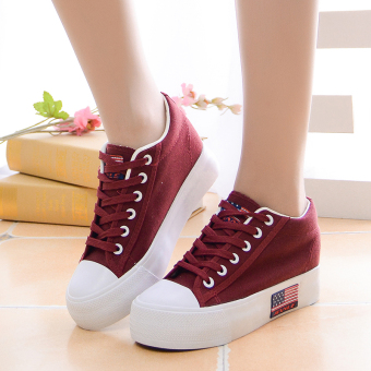 Korean-style female heavy-bottomed shoes white to help low canvas shoes (Wine red)
