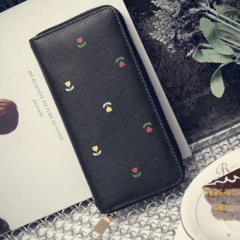 Korean-style female hook single zipper clutch bag New style women's wallet (Black)