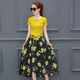 Korean-style female long section Slim fit suit dress chiffon dress (Yellow two-piece sleeve dress)