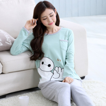 Korean-style female long-sleeved cotton Plus-sized home clothes Qiudong pajamas (Long sleeve light green Hi big white)