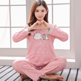 Korean-style female long-sleeved cotton Plus-sized home clothes Qiudong pajamas (Long sleeve QH8017)