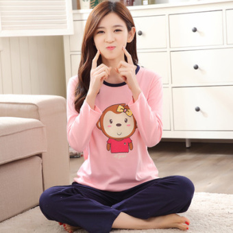 Korean-style female long-sleeved cotton Plus-sized home clothes Qiudong pajamas (Long sleeve ZP801)