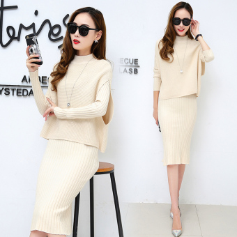 Korean-style female long-sleeved New style Slim fit fashion suit skirt knit dress (Beige)