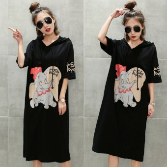 Korean-style female Loose and plus-sized T-shirt dress T-shirt