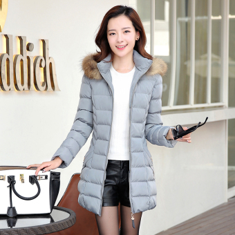 Korean-style female mid-length New style Slim fit jacket winter coat (Gray)