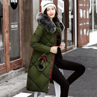 Korean-style female mid-length Slim fit down padded winter jacket (Dark green color)