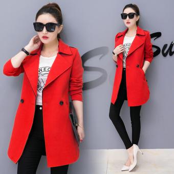 Korean-style female mid-length spring LOOESN Top coat (Red)