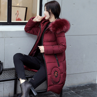 Korean-style female mid-length student winter coat down padded (Wine red color)