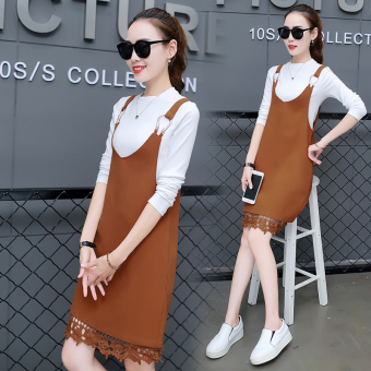 Korean-style female New style elegant skirt Dungaree dress (Casual color)