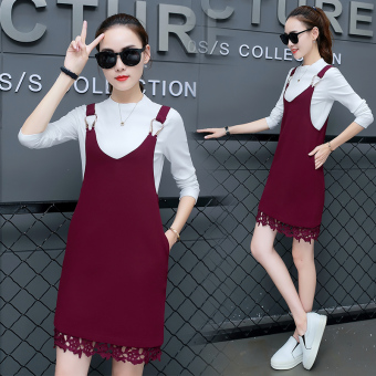 Korean-style female New style elegant skirt Dungaree dress (Wine red color)