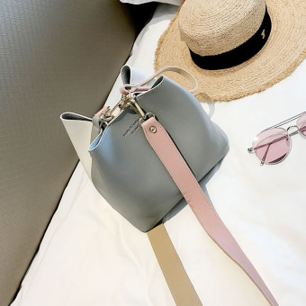 Korean-style female New style Jianyue messenger bag bucket bag (Gray)