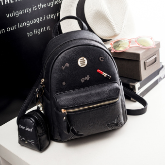 Korean-style female New style mini small bag backpack (Black small)
