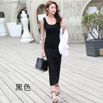Korean-style female New style Slim fit bottoming dress skirt (Black)