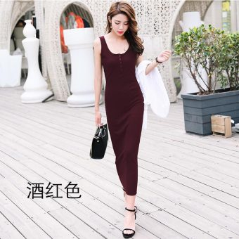 Korean-style female New style Slim fit bottoming dress skirt (Wine red color)