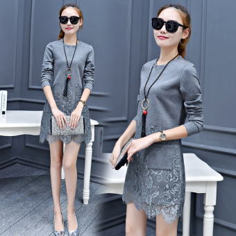 Korean-style female New style Slim fit step skirt long-sleeved dress (Gray)
